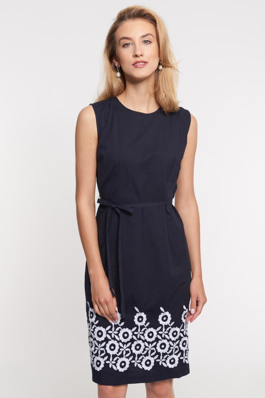Granatowa sukienka z kwiatowym panelem