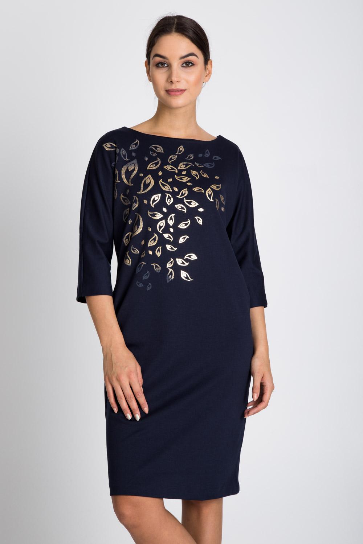 Granatowa sukienka z metalicznym nadrukiem