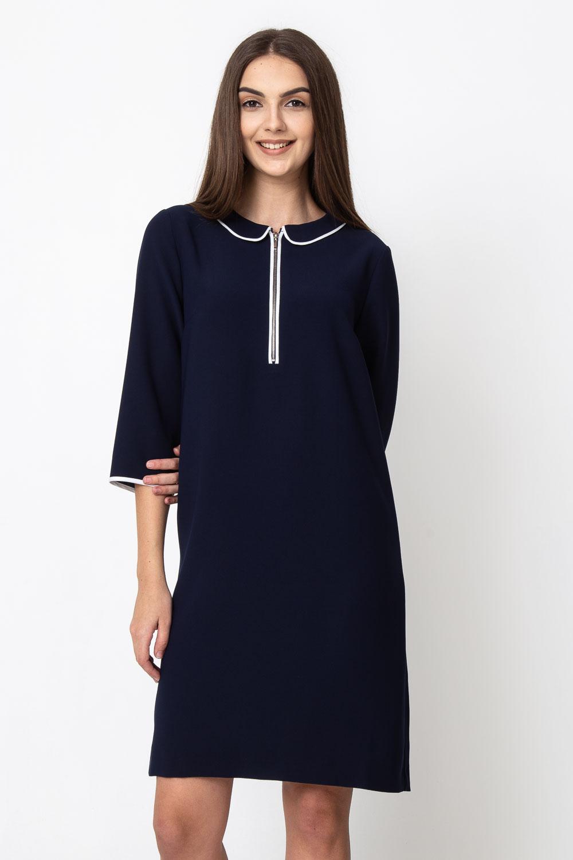 Granatowa sukienka z okr±g³ym ko³nierzykiem
