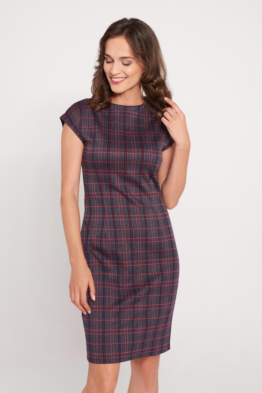 Granatowa taliowana sukienka w kratê
