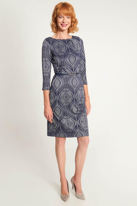 Granatowa taliowana sukienka z paskiem