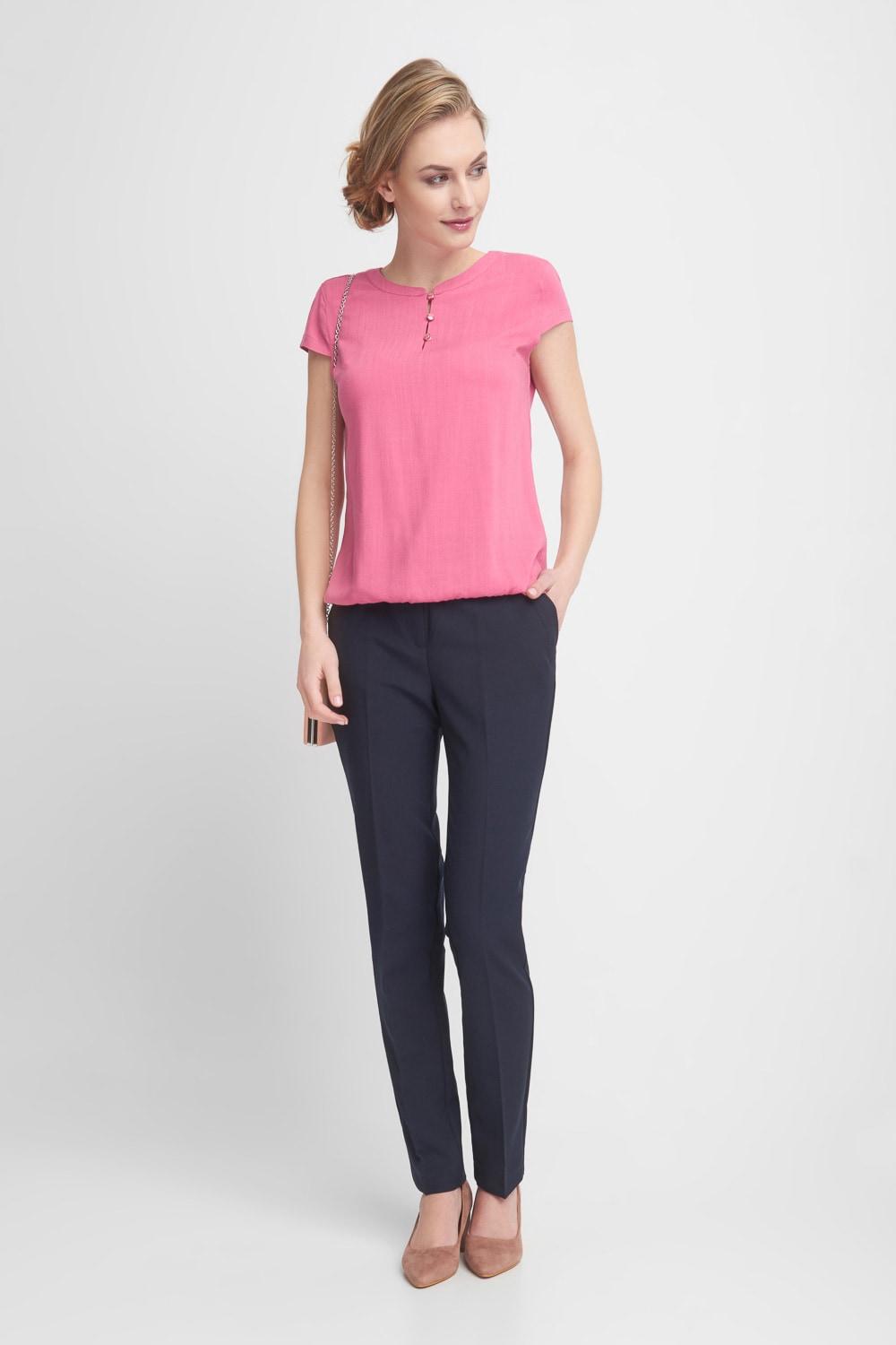 Granatowe eleganckie spodnie w kant