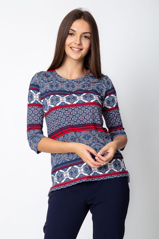Granatowo-czerwona bluzka z orientalnym wzorem