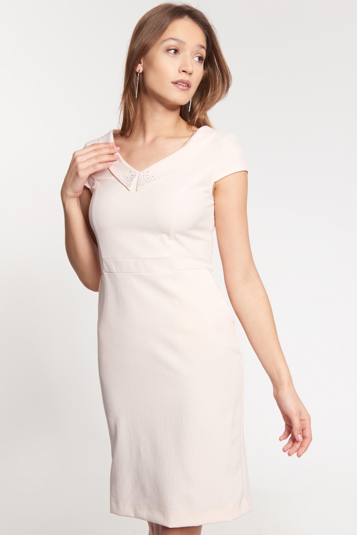 Kremowa sukienka z szerokim ko³nierzem