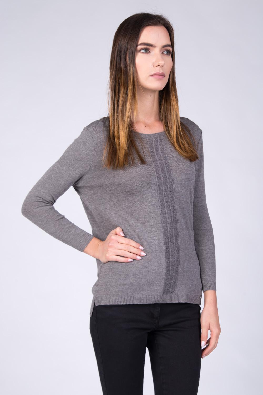 Lekki sweter z panelem w kolorze taupe