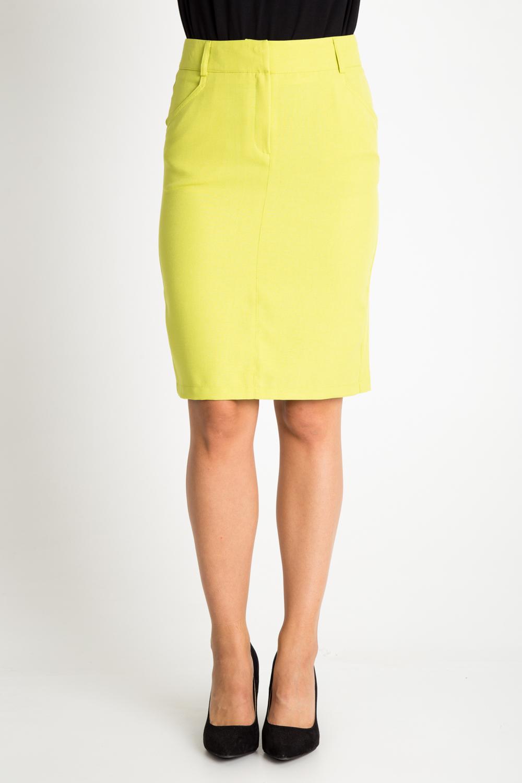 Limonkowa spódnica z kieszeniami