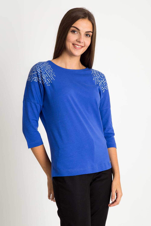 Niebieska bluzka z ozdobnymi ramionami