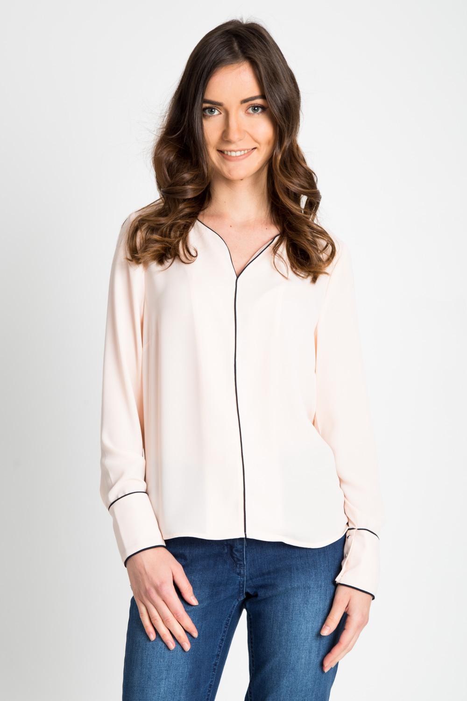 Pudrowa bluzka z dekoltem V