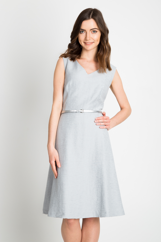 Srebrna rozkloszowana sukienka z paskiem