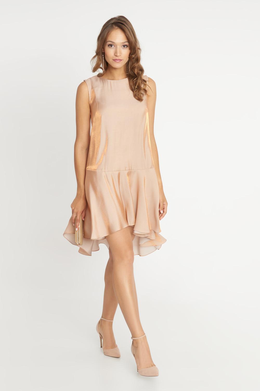 Sukienka nude ze zwiewnym do³em