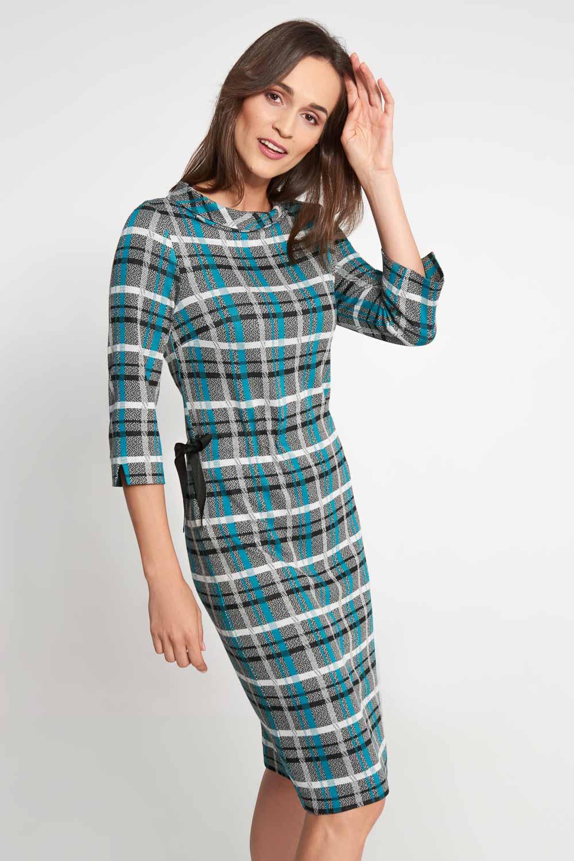 Sukienka w kratê z wi±zaniem z boku