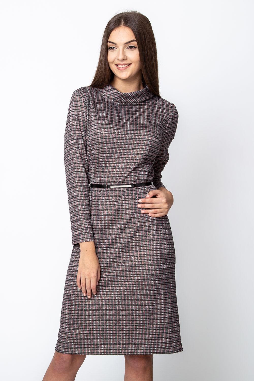 Sukienka w kratkê z lu¼nym golfem