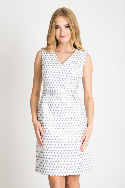 Sukienka z dekoltem V w metaliczne groszki