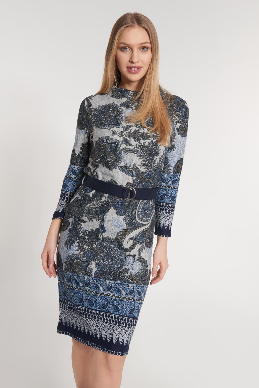 Szara sukienka z orientalnym motywem z paskiem