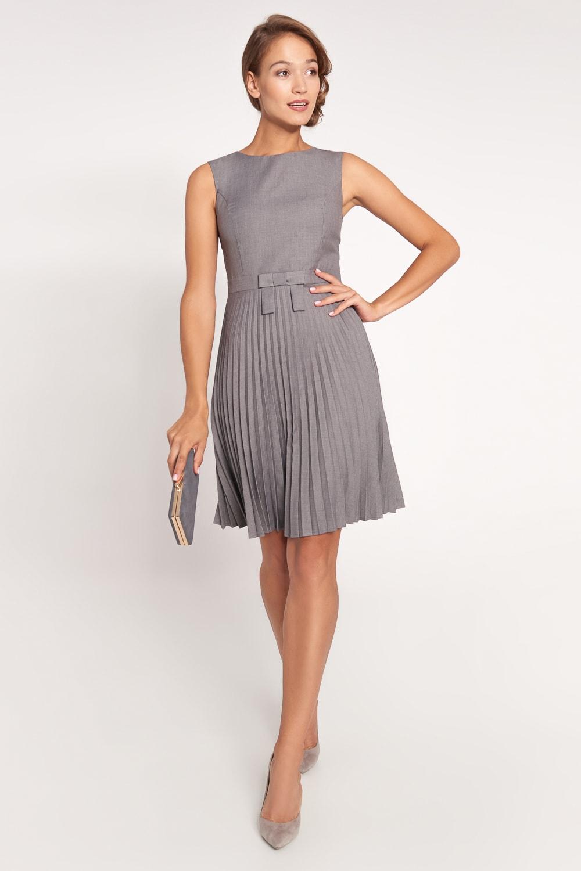Szara sukienka z plisowanym do³em z kokard±