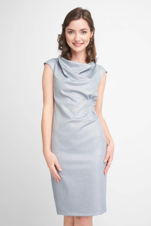 Szaroniebieska sukienka z dekoltem woda