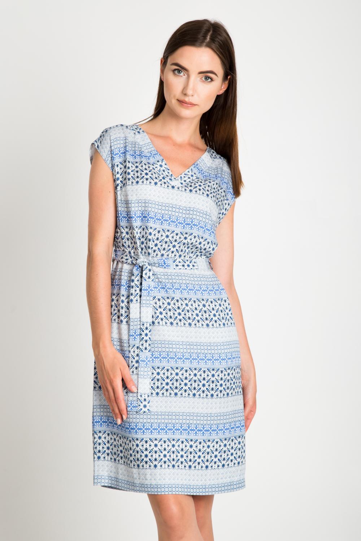 Wi±zana sukienka w niebieskie wzory