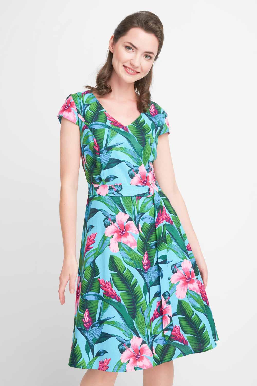 Zielona rozkloszowana sukienka w kwiaty