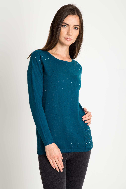 Zielony sweter z kieszonk±